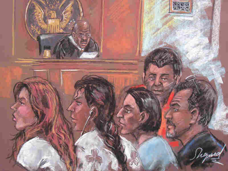 This New York courtroom drawing shows five of the 10 arrested Russian spy suspects on June 28.
