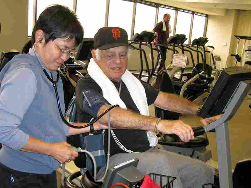 Actor Jonathan Haze bicycles at the Cardiac Rehab Lab at Cedars-Sinai Heart Institute.