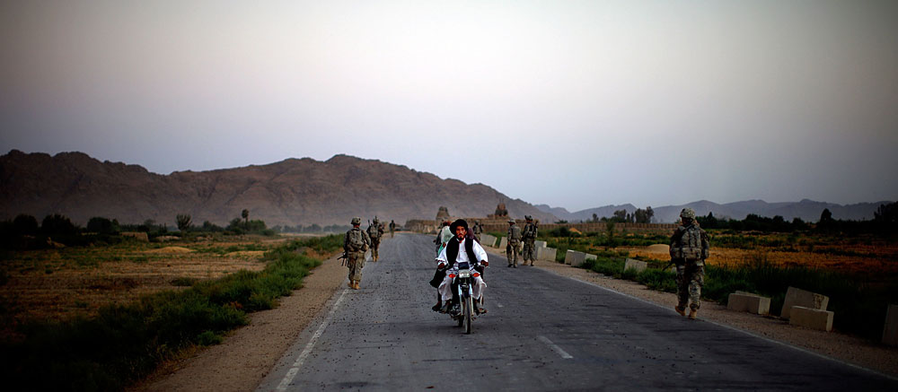 A patrol on a road in southern Afghanistan