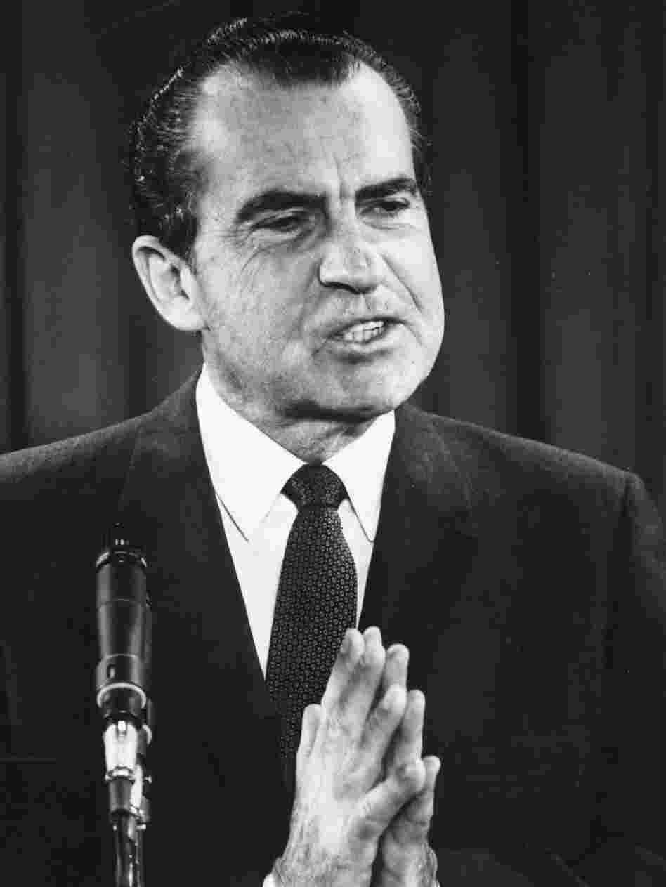 President Richard Nixon speaking at a press conference in Washington on April 21, 1969.