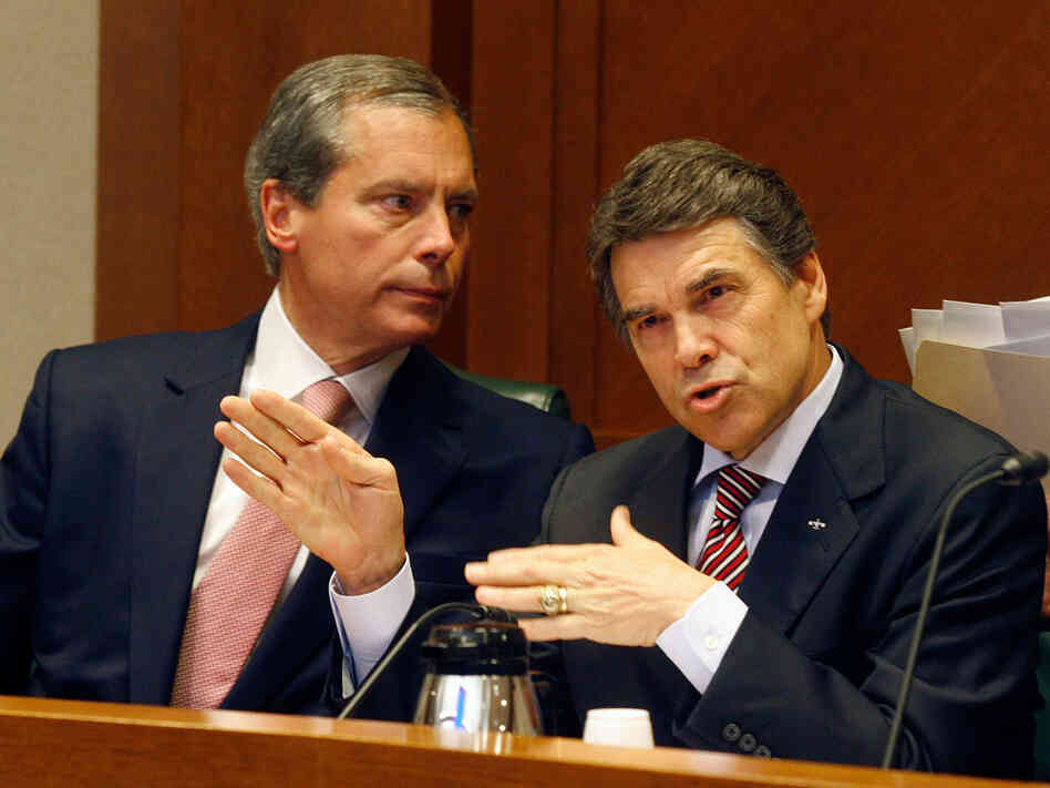 Texas Lt. Gov. David Dewhurst and Gov. Rick Perry.