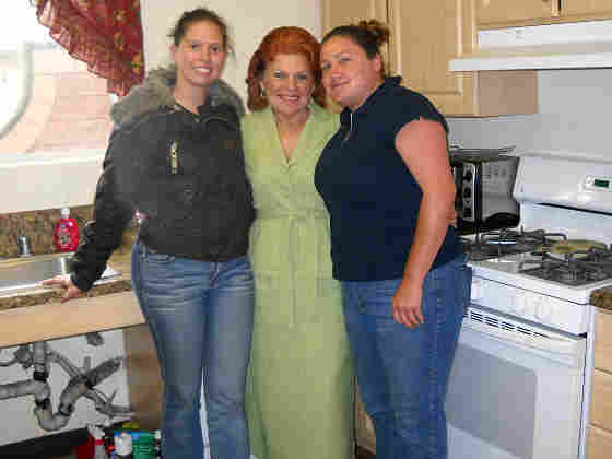Dr. Diane West (center) with U.S. Vets facility residents Margaret Ortiz (left) and Andrea Guara