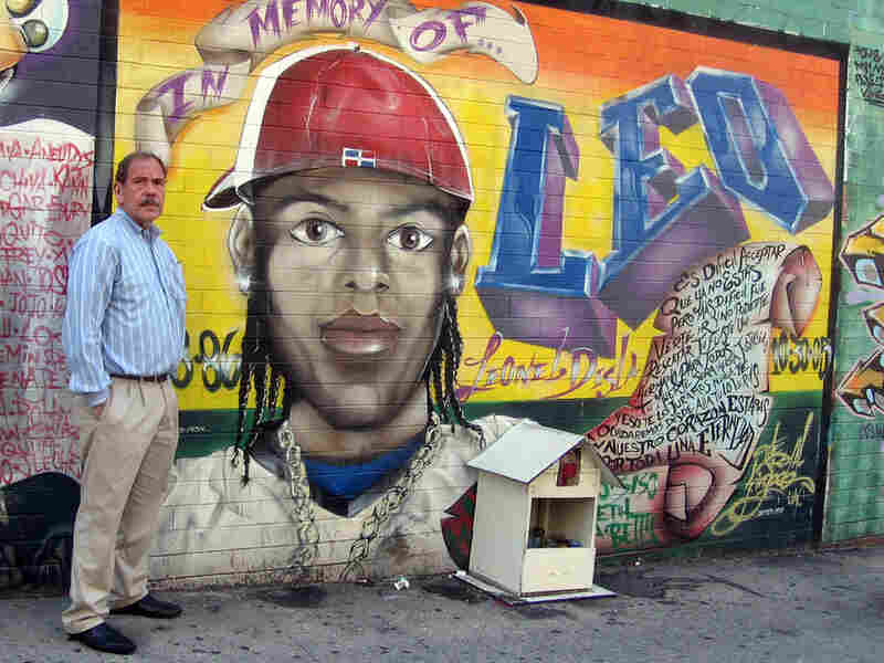 Arthur Levine with Leo's mural