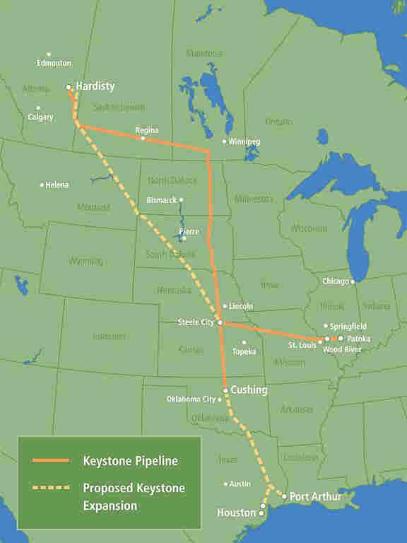 A map of the current Keystone Pipeline and TransCanada's proposed expansion.
