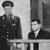 Francis Gary Powers (far right) during his 1960 trial in Moscow.