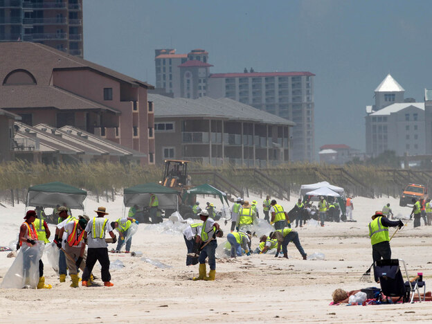 When oil washed ashore in Pensacola, Fla., it left an ugly stain that brought out hundreds of BP workers to clean the beach. It is uncertain how much money BP will have to pay in compensation, cleanup and penalties for the oil spill.