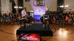 LeBron James announces his decision during a primetime special hosted by ESPN's Jim Gray.