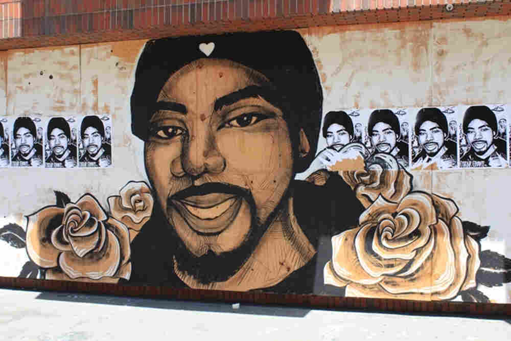 A mural of Oscar Grant on the side of Youth Radio's building in downtown Oakland.