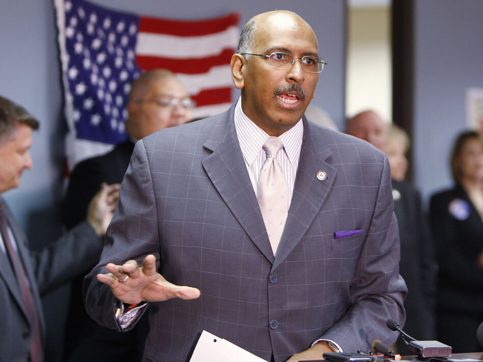 Republican National Committee Chairman Michael Steele speaks at the GOP headquarters in Colorado on July 8. As the RNC cuts funds for a critical program of voter mobilization, independent groups are stepping in.