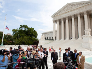 Otis McDonald and the National Rifle Association held a news conference outside the Supreme Court.
