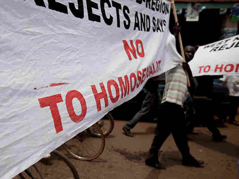 Ugandans take part in an anti-gay demonstration in Kampala in February.