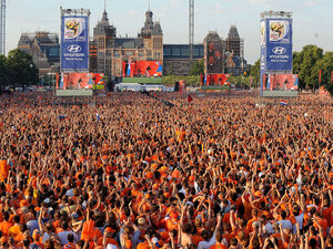 Dutch soccer fans in Amsterdam, Netherlands, watch the World Cup final match