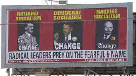 A tea party-sponsored billboard in Mason City, Iowa.