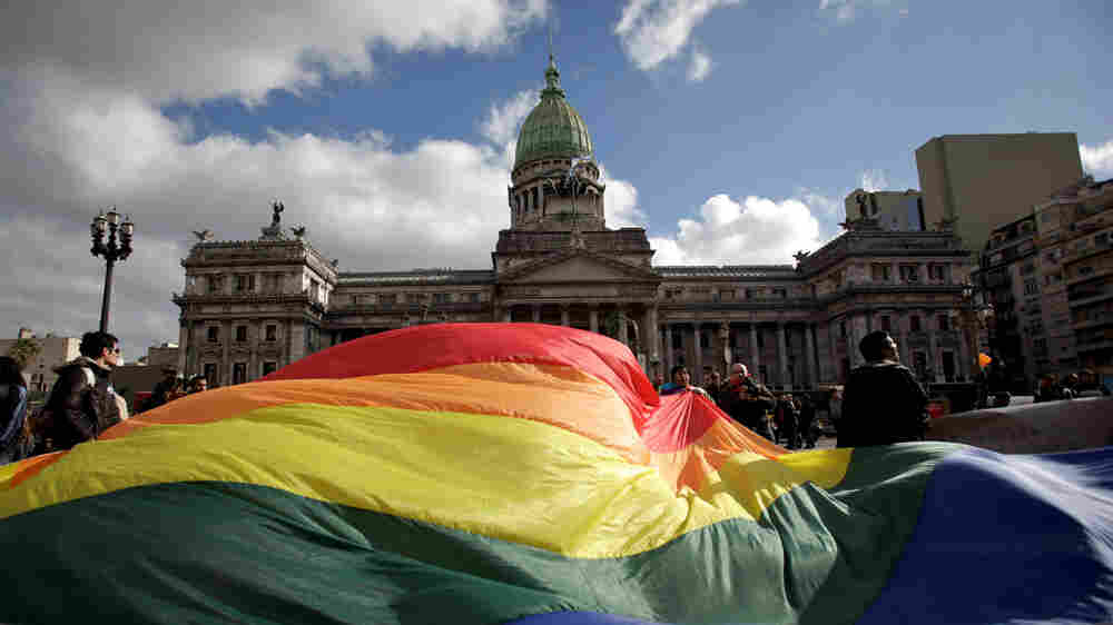 Demonstrators in Buenos Aires wave a gay pride flag