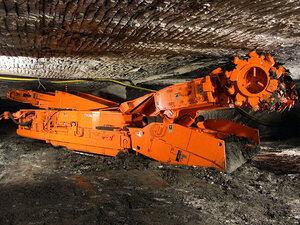 A continuous miner machine.