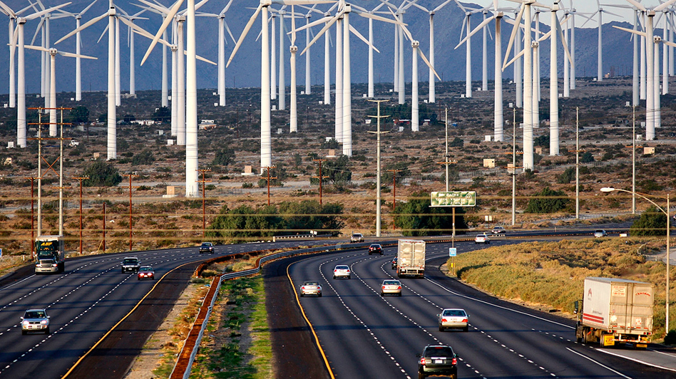 Production of wind power, via turbines like these near Palm Springs, Calif., has grown annually. But its overall contribution to the U.S. energy grid remains small.