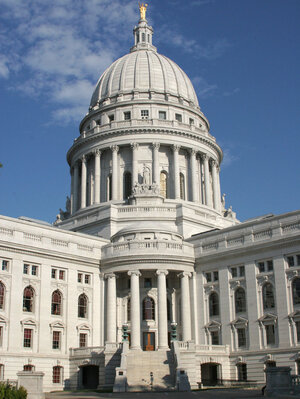 The state Capitol Building in Madison, Wis.