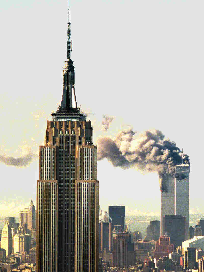 Smoke billows from the World Trade Center towers on Sept. 11, 2001.