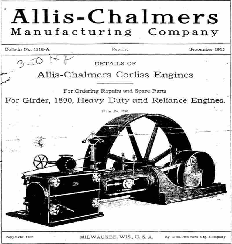The cover of a guide giving details of an Allis-Chalmers Corliss Engine.