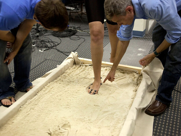 By making, and then imaging, footprints in a sand basin, researchers at George Washington University hope to study how the human foot has changed structure and function since our ape-like ancestors.