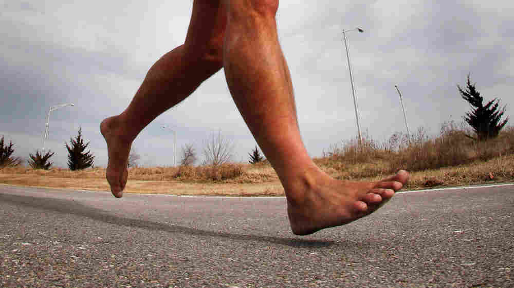 Rick Roeber runs barefoot