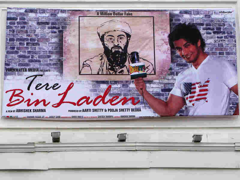 "A poster in New Delhi promotes the satirical Bollywood film ""Tere Bin Laden."""