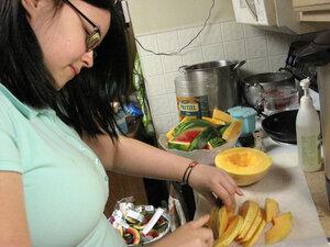 Beanna Williamson cuts melon