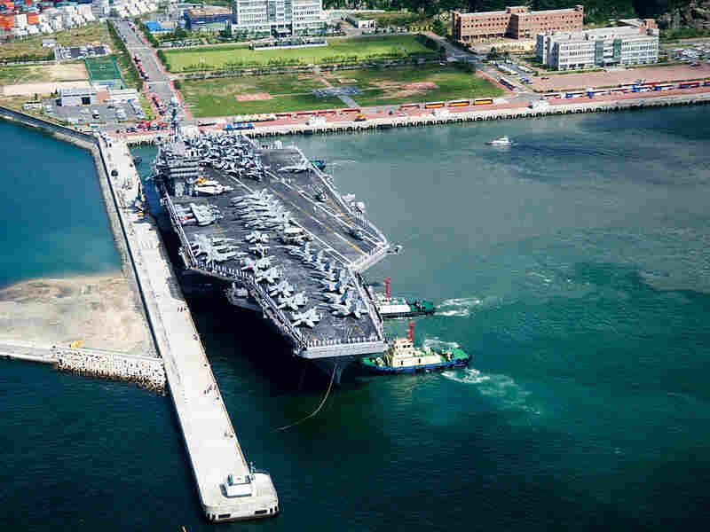 The USS George Washington docks in Busan, South Korea