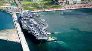 The USS George Washington docks in Busan, South Korea