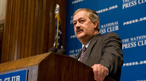 Don Blankenship of Massey Energy Company addresses a National Press Club luncheon during a question-and-answer session on Thursday.