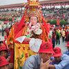 A village Mazu statue is carried into Meizhou Island's main square