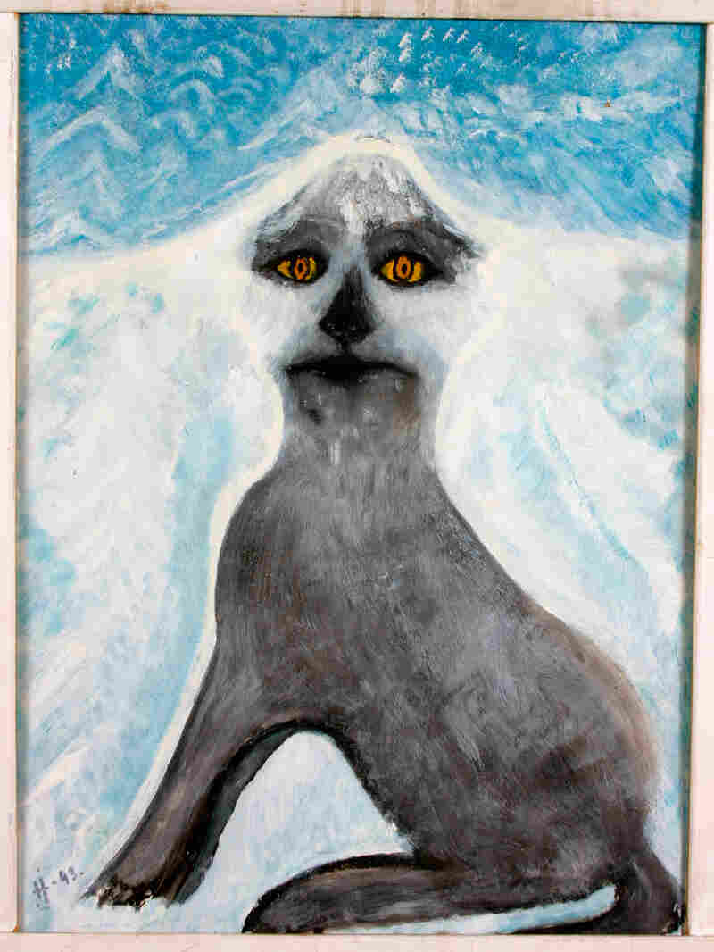Døg -- artist unknown. Acrylic painting of a gray dog and blue sky, on canvas.
