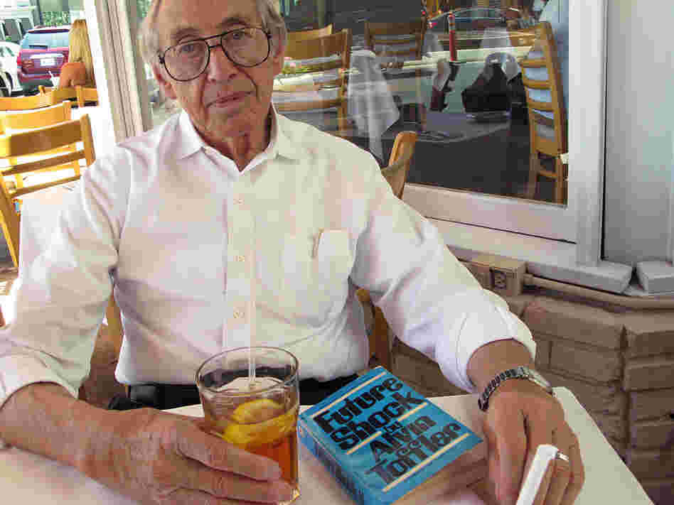 "Alvin Toffler, author of ""Future Shock"", sits at a restaurant on Sunset Blvd in Los Angeles."