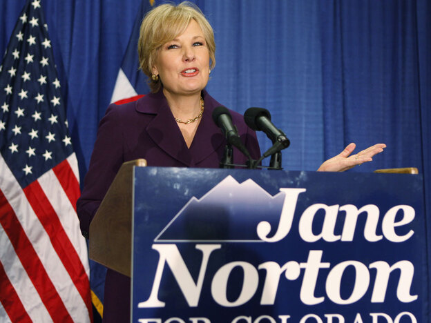 Former Colorado Republican Lt. Governor Jane Norton announces her campaign for the U.S. Senate on Sept. 15 in Denver.