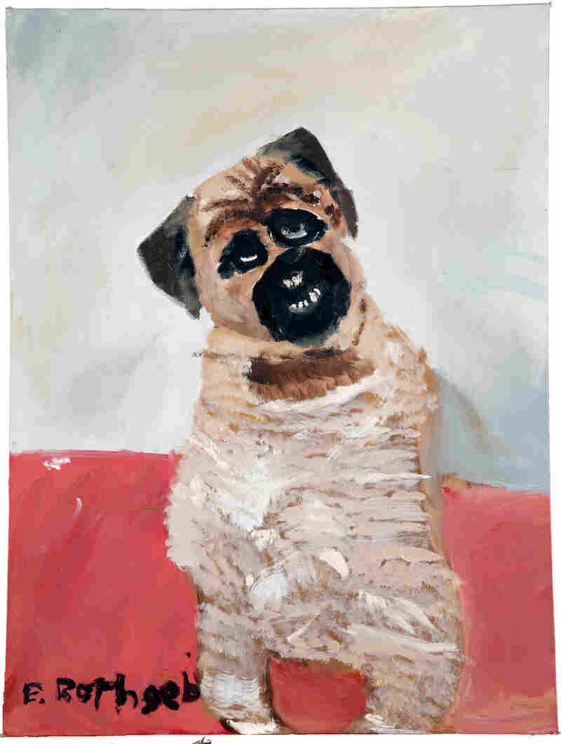 Ronan the Pug -- by Erin Rothgeb. Acrylic on canvas board.