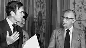 Daniel Schorr with then CIA Director George H.W. Bush in 1976.
