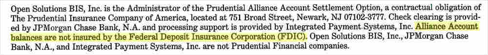 Alliance: Not insured by the FDIC