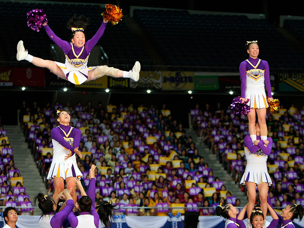 <strong>Someone Got Served:</strong> Like many sports, cheerleading championships have sprung up around the world. Here, the Baika Cheerleading Club Raiders perform during the Japan Cup Cheerleading Championship in Tokyo.
