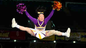 Baika Cheerleading Club Raiders perform during the Japan Cup Cheerleading Championship in Tokyo.