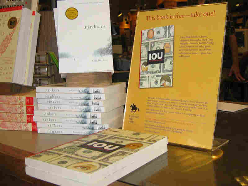 One of the free books published by the Concord Free Press is on display.