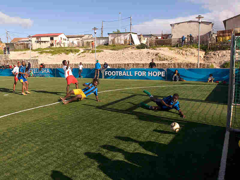 Children play at the Football for Hope Centre, in Khayelitsha, near Cape Town.