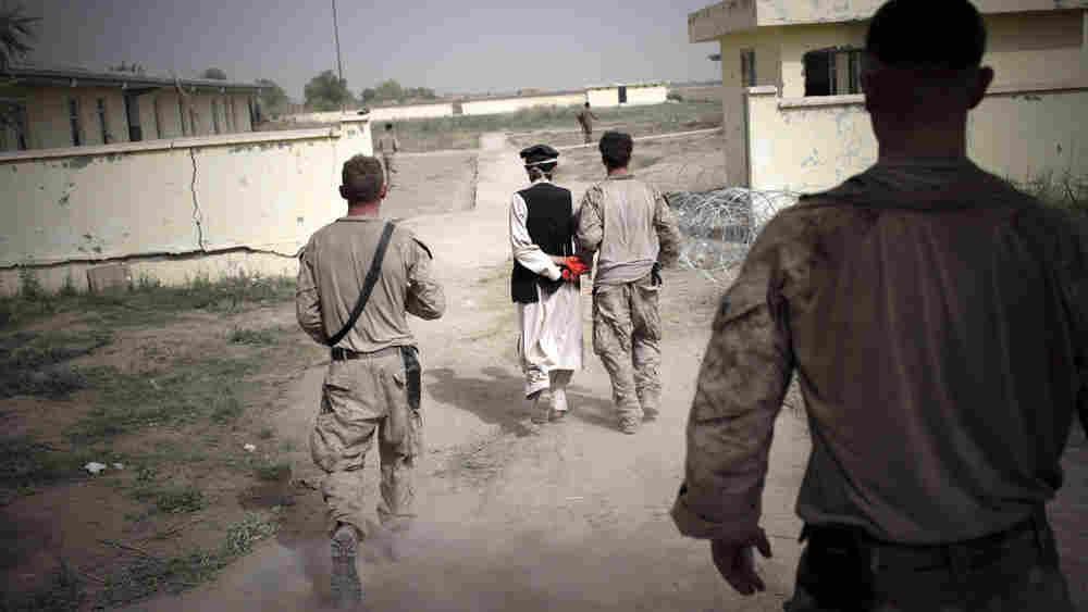 U.S. Marines lead an Afghan detainee in Helmand province