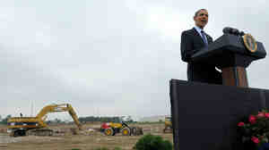 President Obama gives a speech at the groundbreaking for a battery plant
