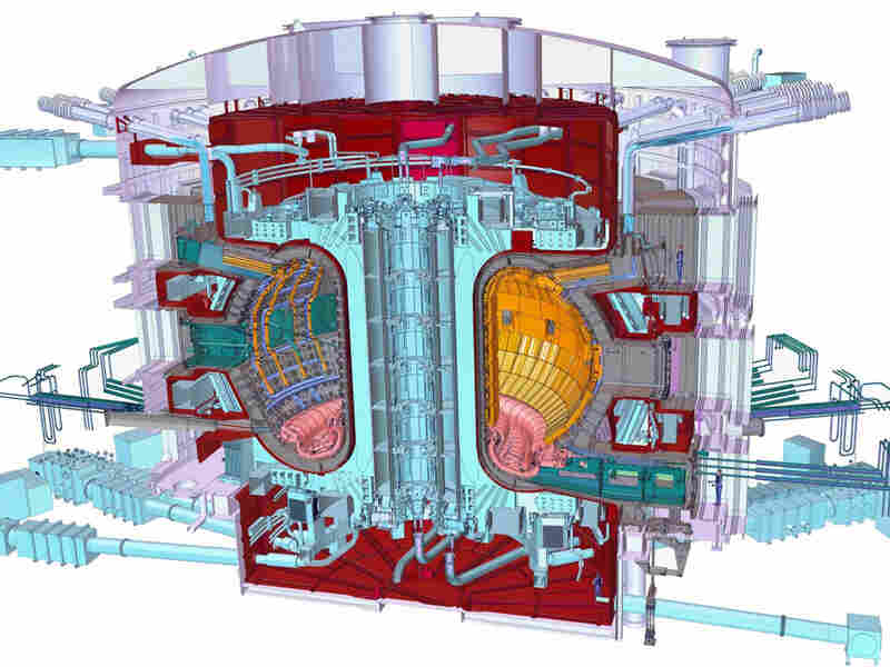 A cutaway view of the planned ITER Tokamak.