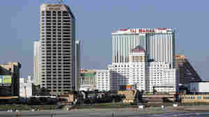 Casino hotels next to the Atlantic Ocean in Atlantic City.