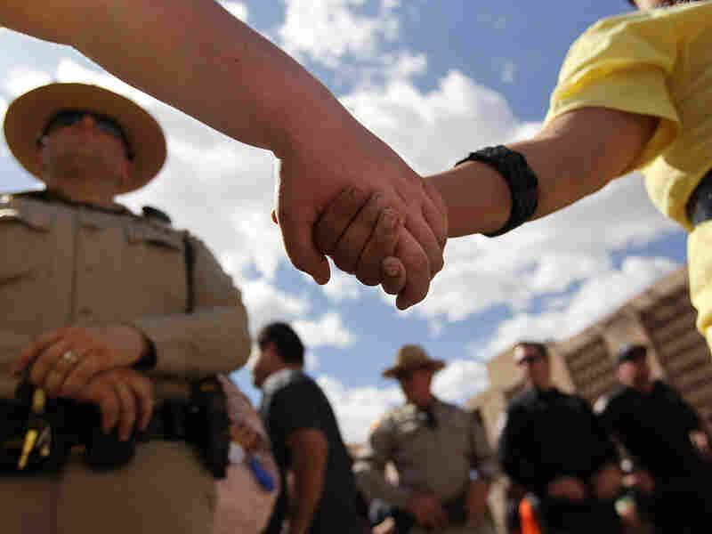 Phoenix, May 1: Demonstrators protest Arizona's immigration law.
