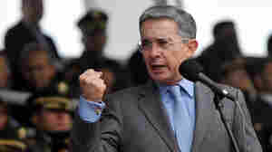 Colombian President Alvaro Uribe delivers a speech at the Police School in Bogota on June 3.