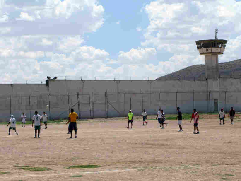 The soccer field at Juarez municipal prison