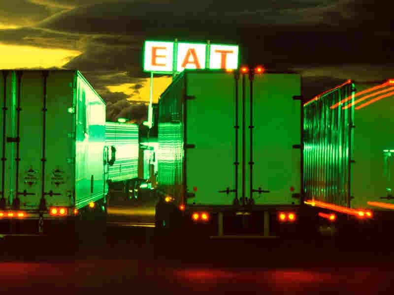 Semi-trucks at a truck stop