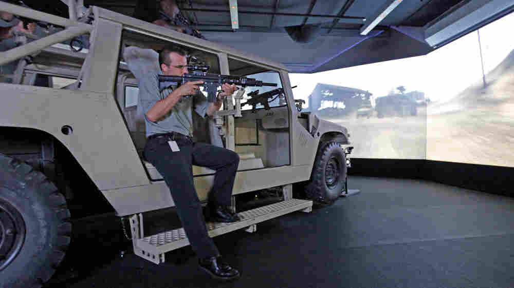 A demonstration of the Humvee interactive simulator in 2009.